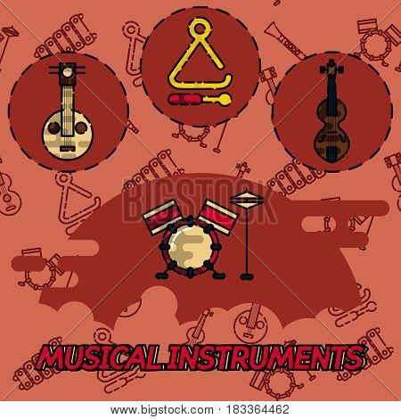 Musical instruments flat concept icons. Vector illustration, EPS 10