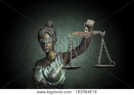 Lady Justice on grunge emerald background (Concept of Justice)