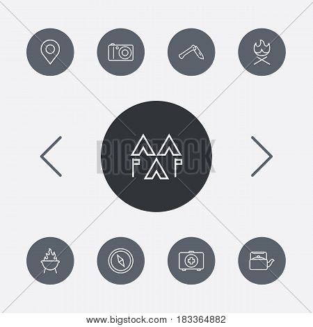 Set Of 9 Camping Outline Icons Set.Collection Of Bonfire, Encampment, Place Pointer And Other Elements.