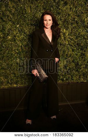 NEW YORK-APR 24: Andie MacDowell attends the 12th Annual Tribeca Film Festival Artists Dinner hosted by Chanel at Balthazar Restaurant on April 24, 2017 in New York City.
