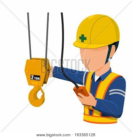 worker is using factory crane on transparent background