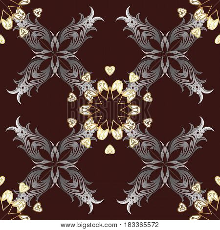 Seamless pattern on brown background with golden elements. Brilliant lace stylized flowers paisley. Vector oriental style arabesques. Openwork delicate golden pattern. Seamless golden texture curls.