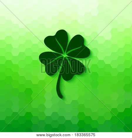Four leaved clover with soft shadow. Vector lucky symbol isolated on bright green honeycomb background.