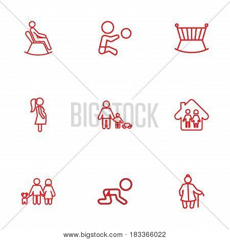 Set Of 9 People Outline Icons Set.Collection Of Parents, Boy, Crawling Kid And Other Elements.