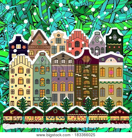 Evening village winter landscape with snow cove houses. Vector illustration. Background. Christmas winter scene.