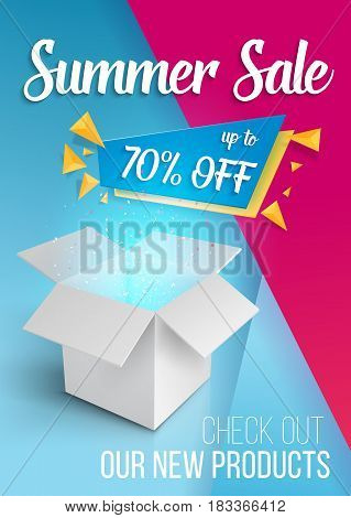 Illustration of Summer Sale Banner Template. Vector Open Box with Magic Light on Modern Flat Background