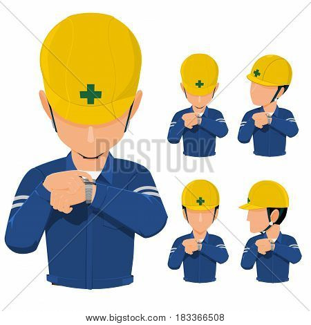 worker is reckoning time on transparent background