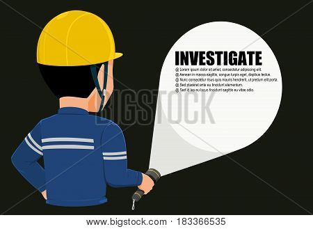 worker is using  flashlight in the night