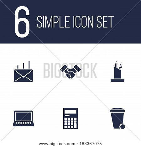 Set Of 6 Service Icons Set.Collection Of Laptop, Trash Can, Handshake Elements.
