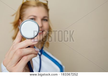 Doctor with glasses with phonendoscope