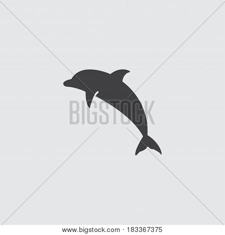 Dolphin icon in a flat design in black color. Vector illustration eps10