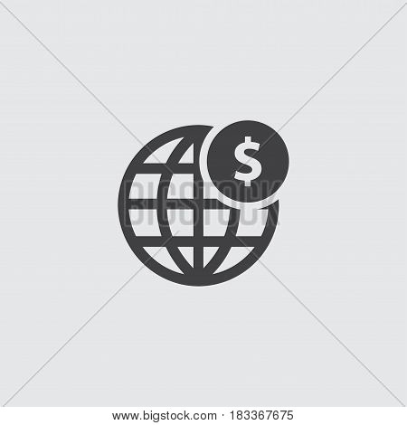 Globe with dollar icon in a flat design in black color. Vector illustration eps10