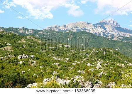 Cetinje, Montenegro. View to the city center from mausoleum of bishop Danilo. City view. Town view. Mountain view.