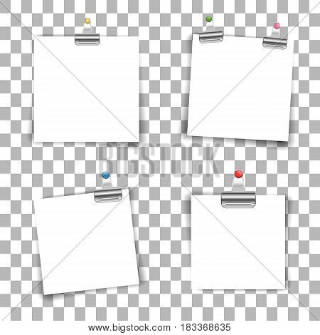 Blank paper sheets with colored push pin and binder clip isolated on transparent background. Vector illustration.