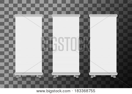 Blank roll up banner stand template. Roll-up banner display isolated on transparent background. Vector illustration.