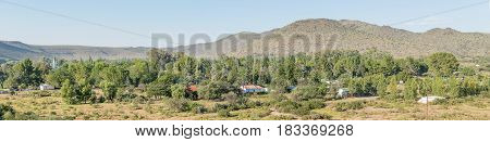 NIEU BETHESDA SOUTH AFRICA - MARCH 22 2017: A panoramic view of Nieu-Bethesda an historic village in the Eastern Cape Province