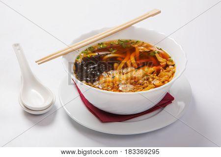 Japanese Ramen Noodle Soup In The Deep Bowl