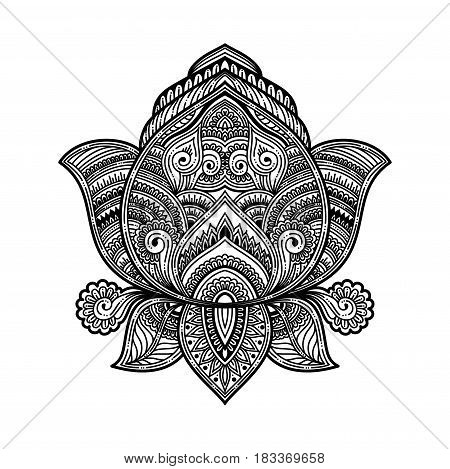 stylized black Vector ornamental Lotus oriental zen tangle design, ethnic henna tattoo sketch in doodles onament. illustration for coloring book for adult