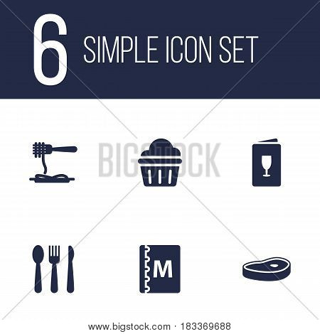 Set Of 6 Cafe Icons Set.Collection Of Book, Silverware, Alcohol And Other Elements.