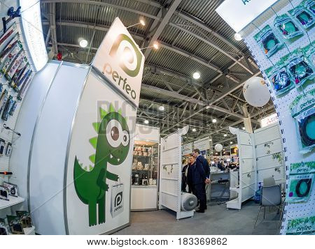 MOSCOW RUSSIA - APRIL 21 2017: Booth of Perfeo company at PhotoForum 2017 trade show and exhibition in Moscow Russia on April 21 2017.