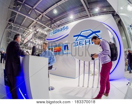 MOSCOW, RUSSIA - APRIL 21, 2017: Booth of Shvabe company at PhotoForum 2017 trade show and exhibition in Moscow, Russia on April 21, 2017.
