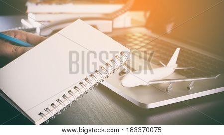 Blank notebook for business travel check list