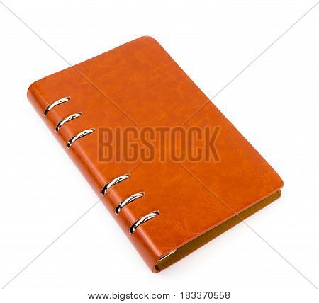 Brown leather diary notebook isolated on white