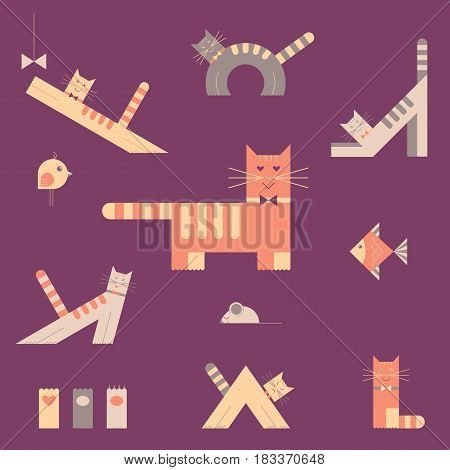Cats flat color icons set. Vector illustration.