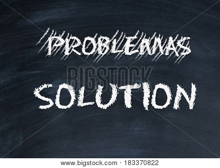 word problem and solution are written chalk on a blackboard