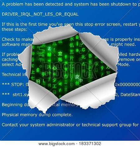 Torn hole in BSOD error text with green matrix code signs on background