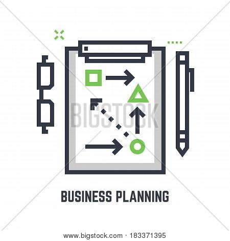 Business planning concept. Sport table with plans and schemes to win or succeed. Minimalistic flat and thic line vector style. Pen and glasses. Two colors. Business plan.