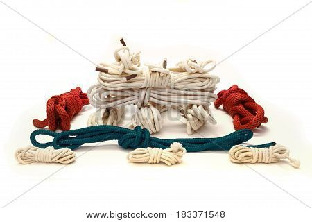 Collection of ropes and toys used in BDSM sexual games