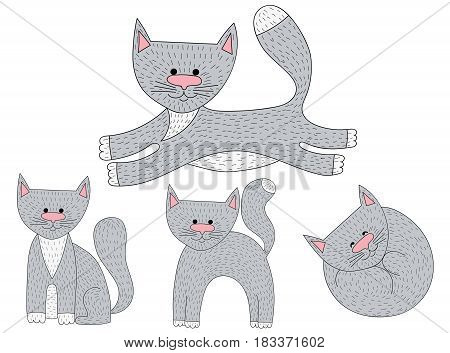 Vector set of sketch cat characters in different poses. Cartoon smiling cats.