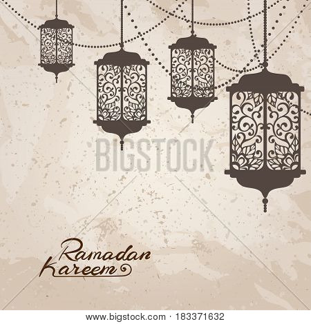 Arabic traditional lantern and garland on vintage paper texture. Card invitation for muslim month Ramadan Kareem. Festive vector illustration.