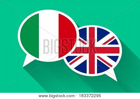 Two white speech bubbles with Italian and Great britain flags. English language conceptual illustration