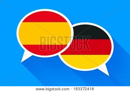 Two white speech bubbles with Spain and German flags. English language conceptual illustration