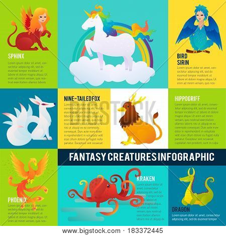 Colorful fantastic animals infographic concept with different mythological creatures and monsters vector illustration
