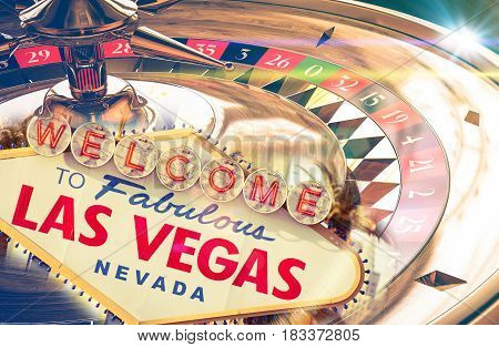 Las Vegas Sign. Roulette in the background. Casino theme.