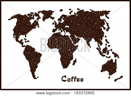 World map made from coffee beans. Coffee lettering. Vector illustration isolated on white. Concept for selling coffee and decorate coffee shop.