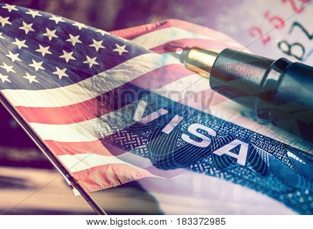 United States of America Visa Document with USA flag in the background.