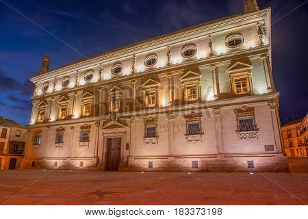 Night view of Palace Vazquez de Molina in Ubeda, Spain