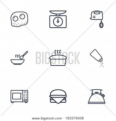 Set Of 9 Kitchen Outline Icons Set.Collection Of Hamburger, Scales, Kettle And Other Elements.