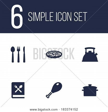 Set Of 6 Kitchen Icons Set.Collection Of Teapot, Cooking Instruction, Silverware And Other Elements.