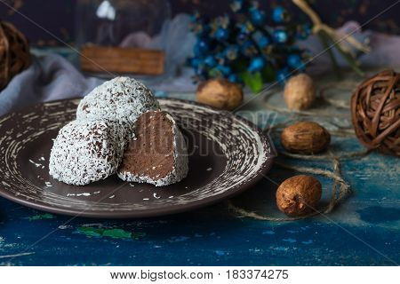 Chocolate cake called potatoes in coconut chips