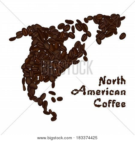 North America continent made from coffee beans. American coffee lettering. Vector illustration isolated on white. Concept for selling coffee and decorate coffee shop.