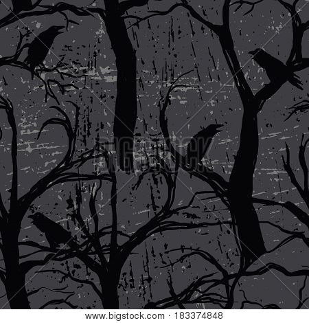 Seamless pattern with ravens. For web backgrounds wallpapers wrapping textile and other pattern fills