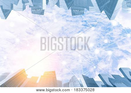 Blue Sky With Cloud In Sunset Light With Modern City And Wireless Communication Network. Internet Of