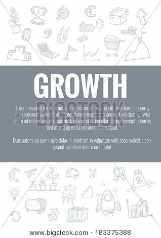 Vector Template For Growth Theme With Hand Drawn Doodles Business Icon In Background.concept For Bus