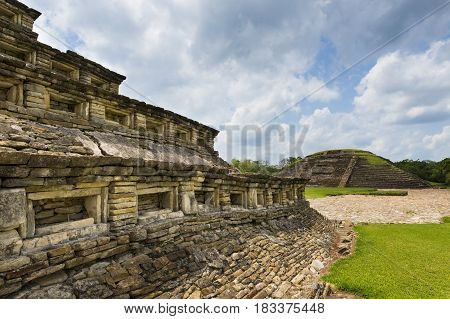 Detail of a pyramid at the El Tajin archaeological site in the State of Veracruz Mexico