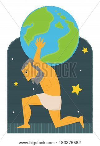 Clip art of Atlas carrying the world on his back. Eps10